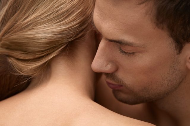 Skin Smell. Closeup Of Handsome Male With Beauty Face And Stubble Beard Smelling Beautiful Female