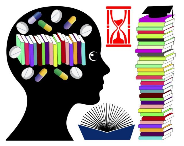 Student taking brain enhancing drugs. Smart drugs to boost brain power for exam preparation