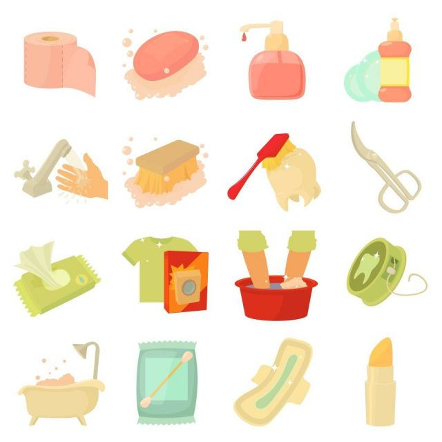 Hygiene cleaning icons set