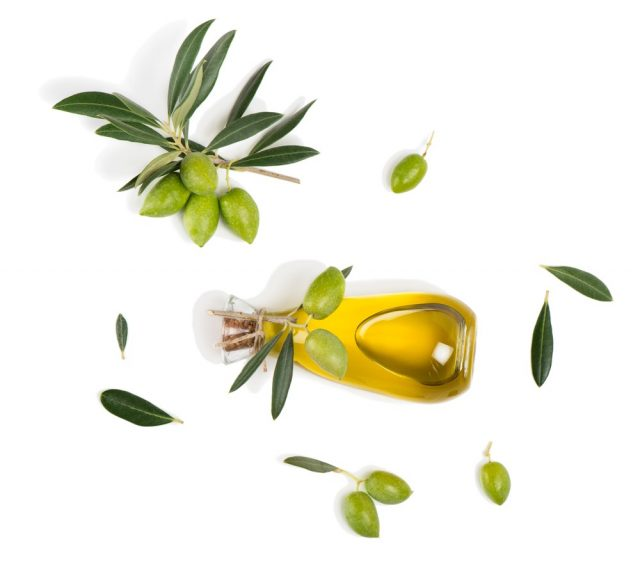 Top view of branch with green olives and a bottle of olive oil