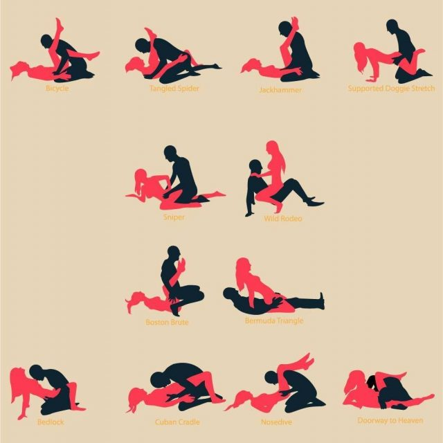 Make love position with nice and appropriate shilouette and name of position