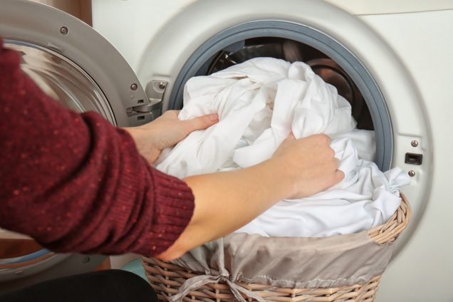 All clothes and bedding that was used by the infected person need to be washed thoroughly in washing machine